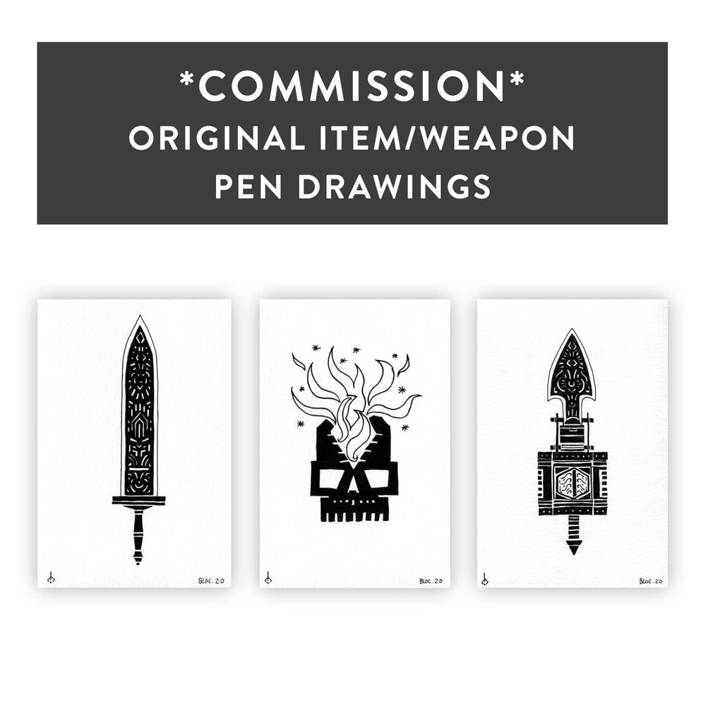 *COMMISSION* Original Item/Weapon Pen Drawings