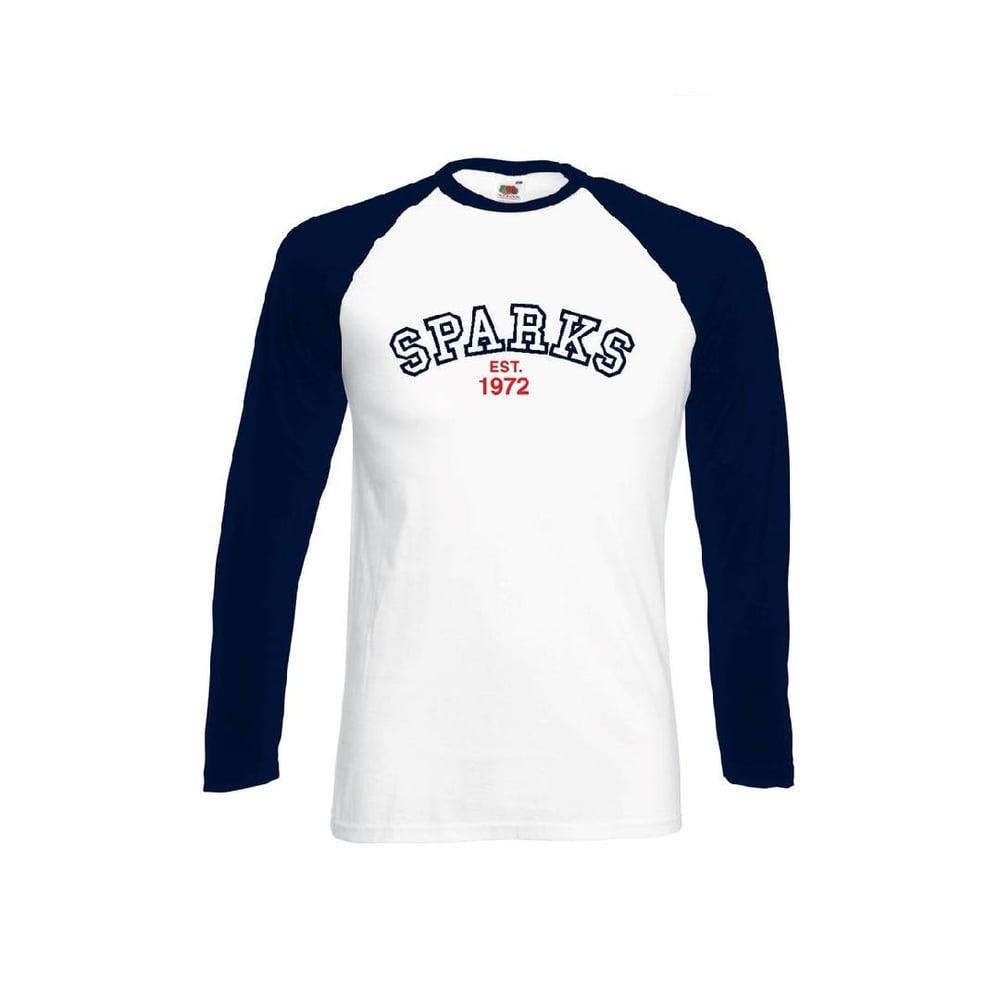 Image of 1972 Sparks White/Navy Long Sleeve Baseball T-shirt