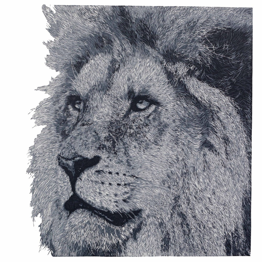 "Image of ""The King"", Lion, Reduction Linocut"