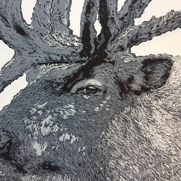 Image of Reindeer, Reduction Linocut