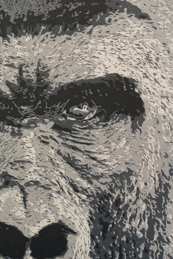 Image of Silverback, Gorilla, Reduction Linocut