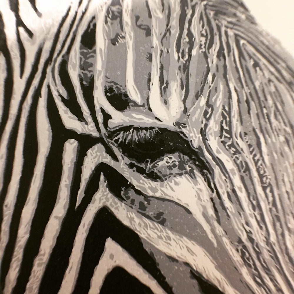 Image of Zebra, Reduction Linocut