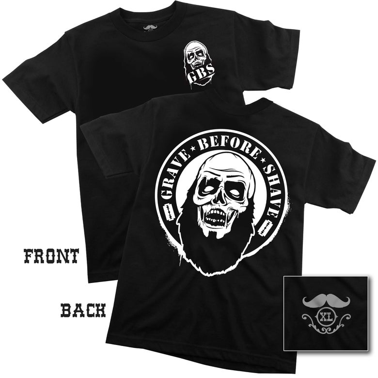 Image of GRAVE BEFORE SHAVE Zombie Beard Tee (back print)