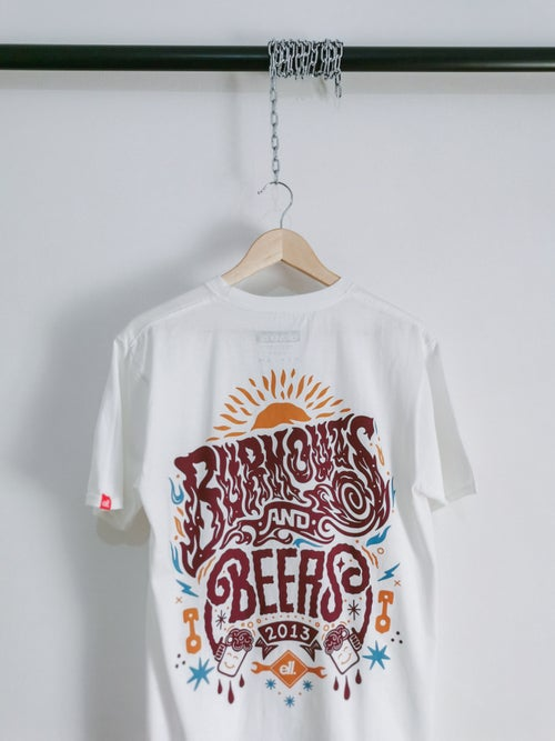 Image of Burnouts and beers guest artist designed tee
