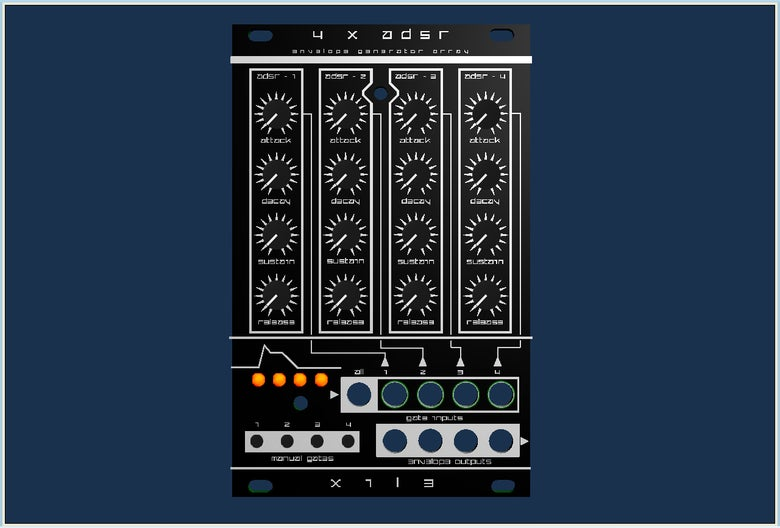 Image of 4 X ADSR - quad envelope generator array - manual eg control cluster