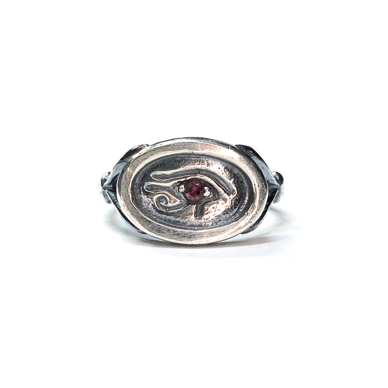 Image of Wedjat Eye ring with stone in sterling silver or gold