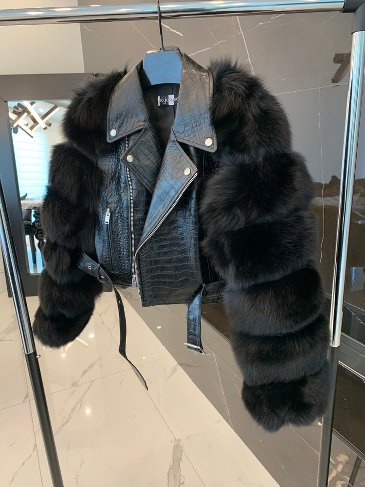 Image of Sarina Cropped Biker Jacket (Croc)