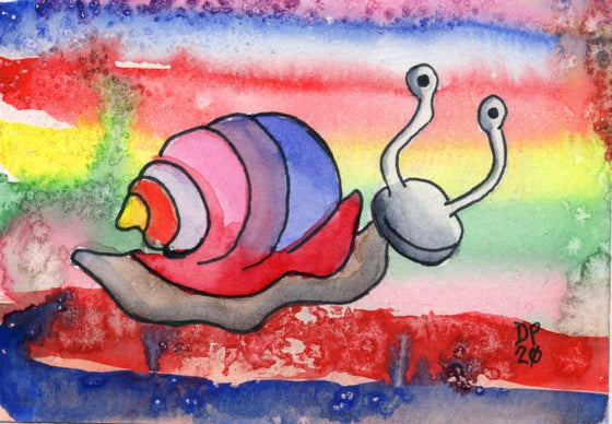 "Image of ""Snail Rainbow"" watercolor painting."