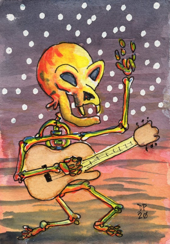 "Image of ""Starry Skeleton"" watercolor painting"