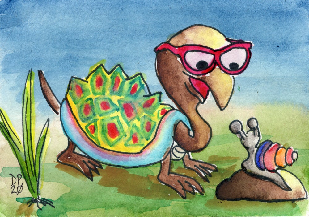 """Image of """"Turtle and Snail"""" watercolor painting"""
