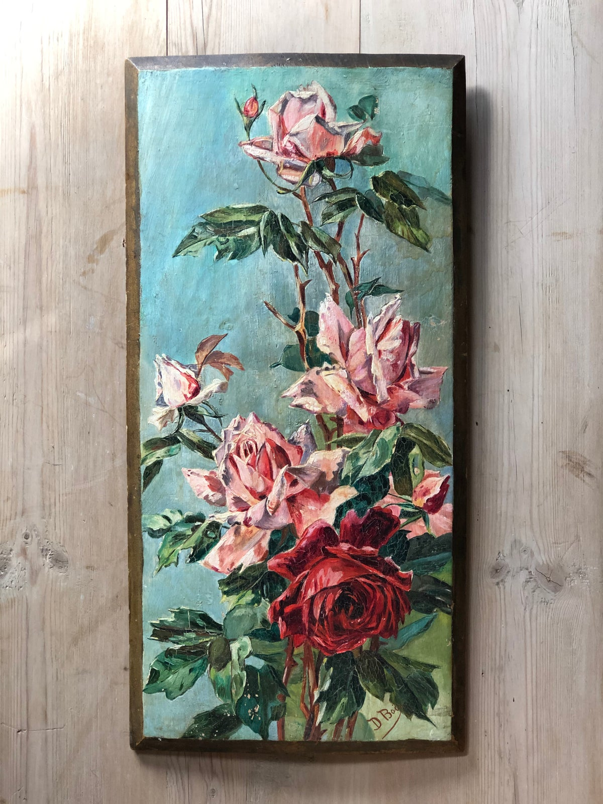 Image of Oil painting of roses on wood