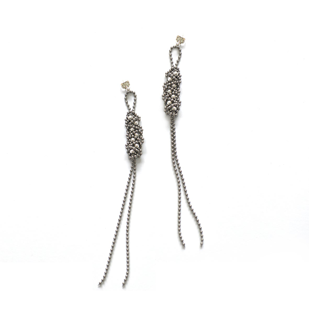 Image of STEEL+SILVER braid earrings