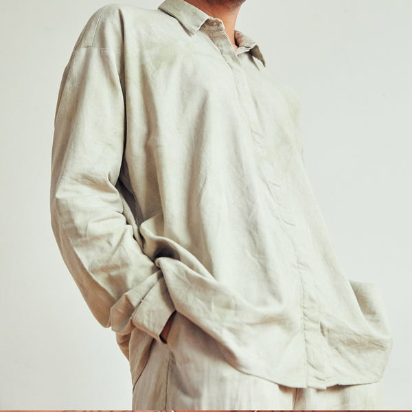 Image of sage button down shirt