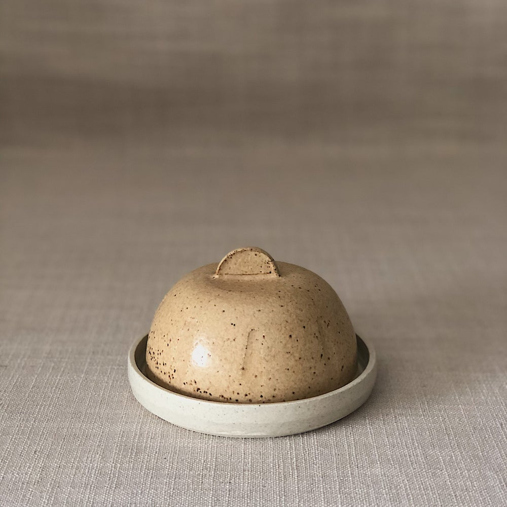 Image of EARTHY ORANGE BUTTER DISH
