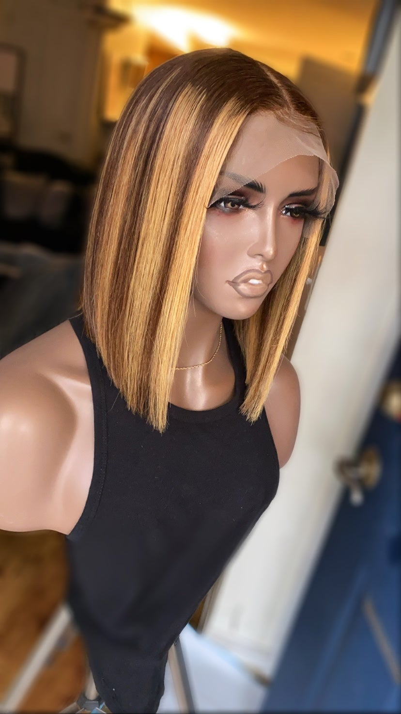 Image of Highlighted bob wig unit/ lace frontal