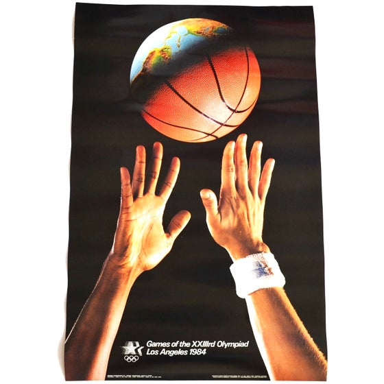 Image of Vintage 1984 Los Angeles Olympic Games Basketball Poster