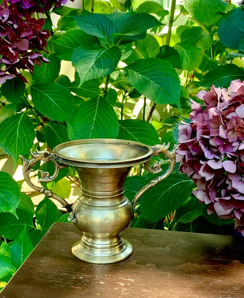 Image of Vintage Brass vase with dragon handles