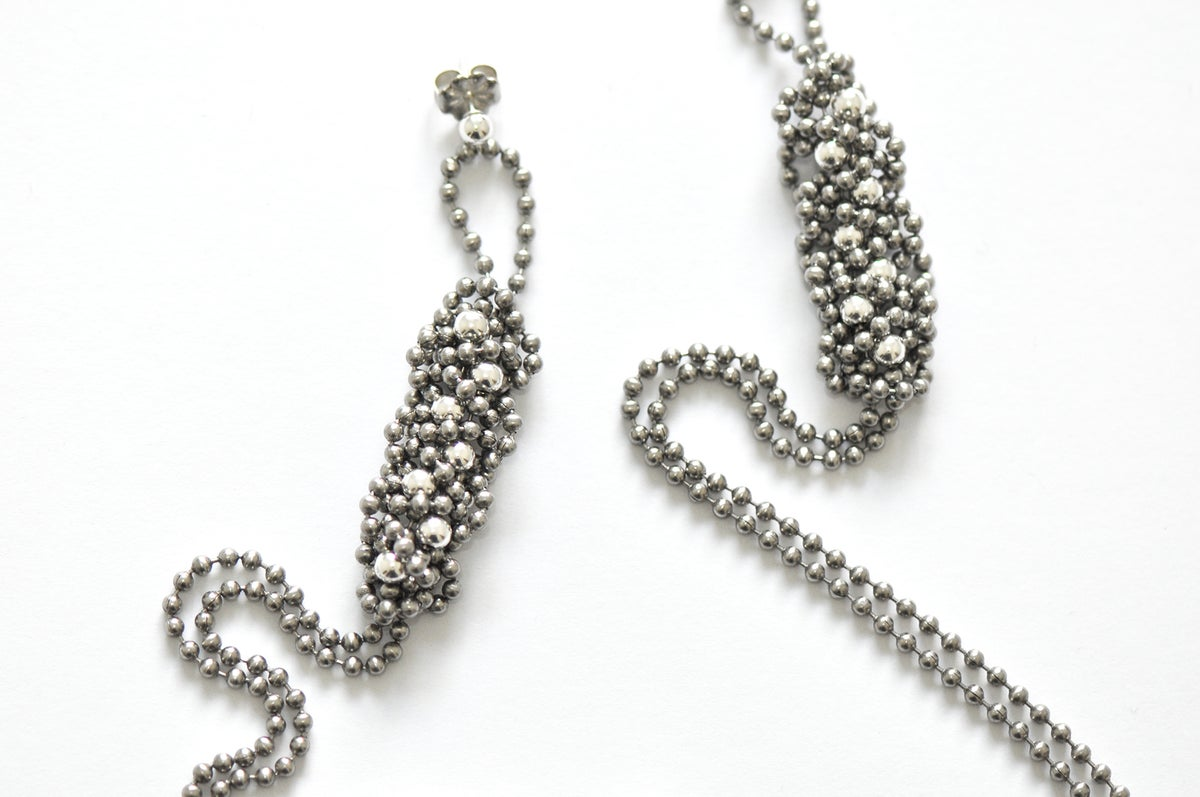 Image of STEEL+SILVER super-long braid earrings
