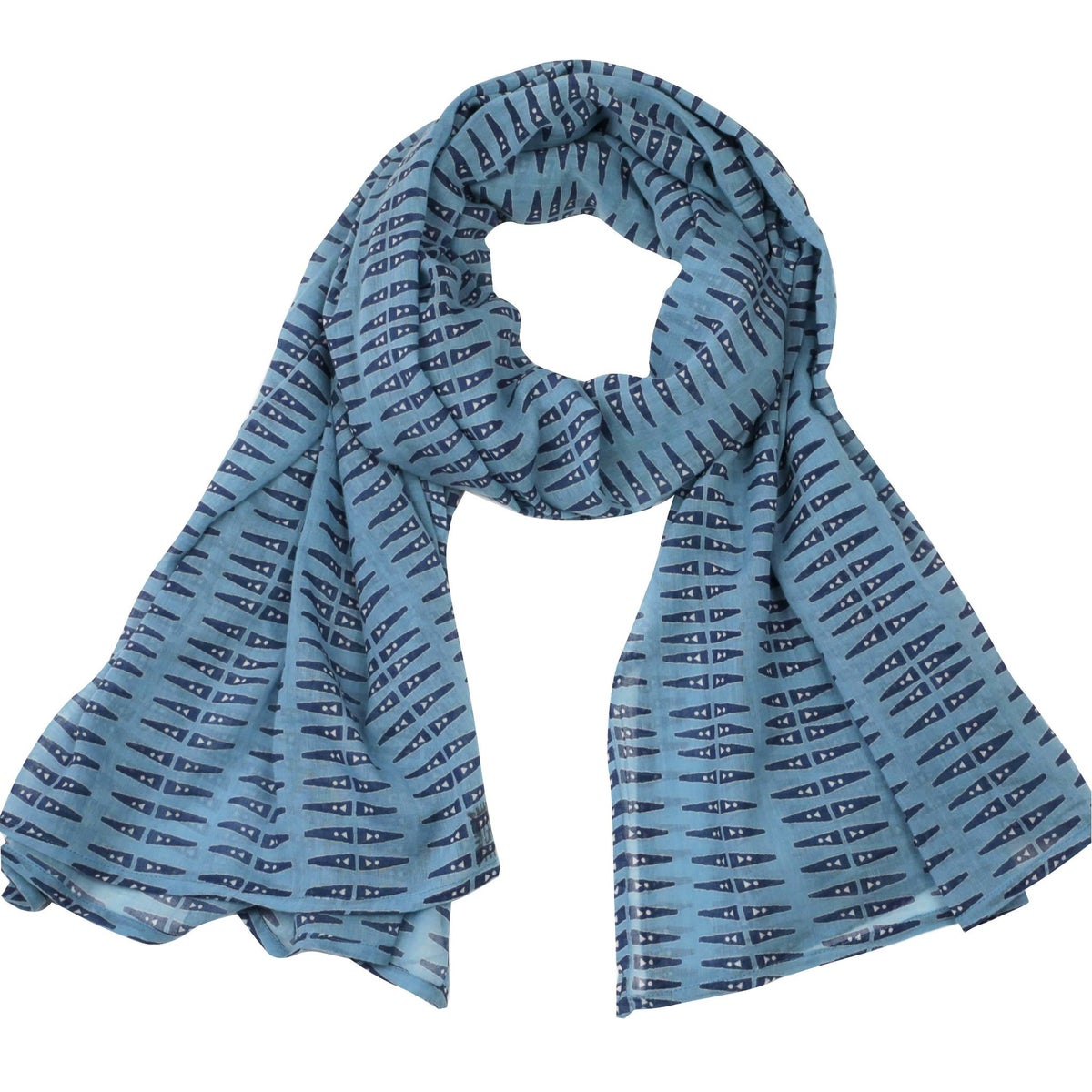 Image of Anabel Blue Block Printed Scarf