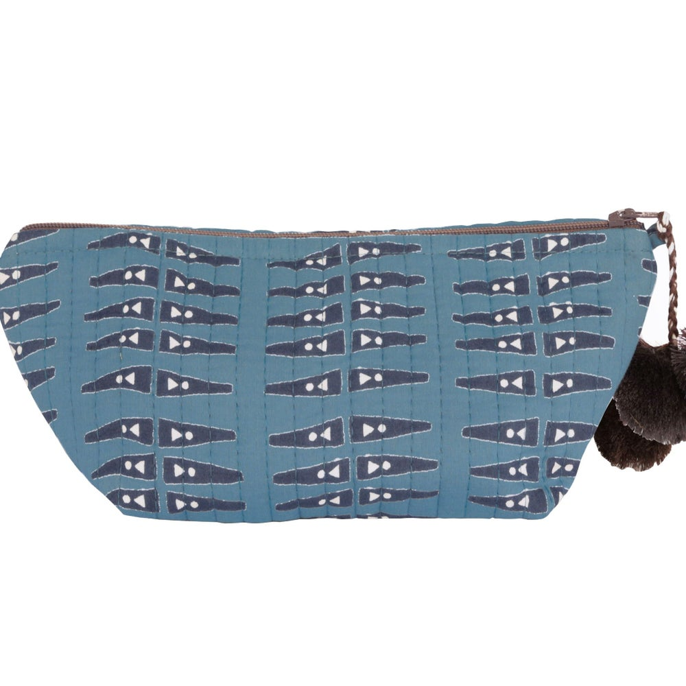 Image of Anabel Blue Block Printed Make Up Pouch