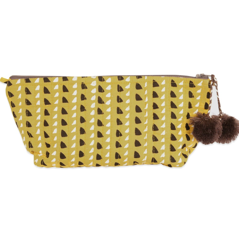 Image of Trinidad Mustard Block Printed Make Up Pouch