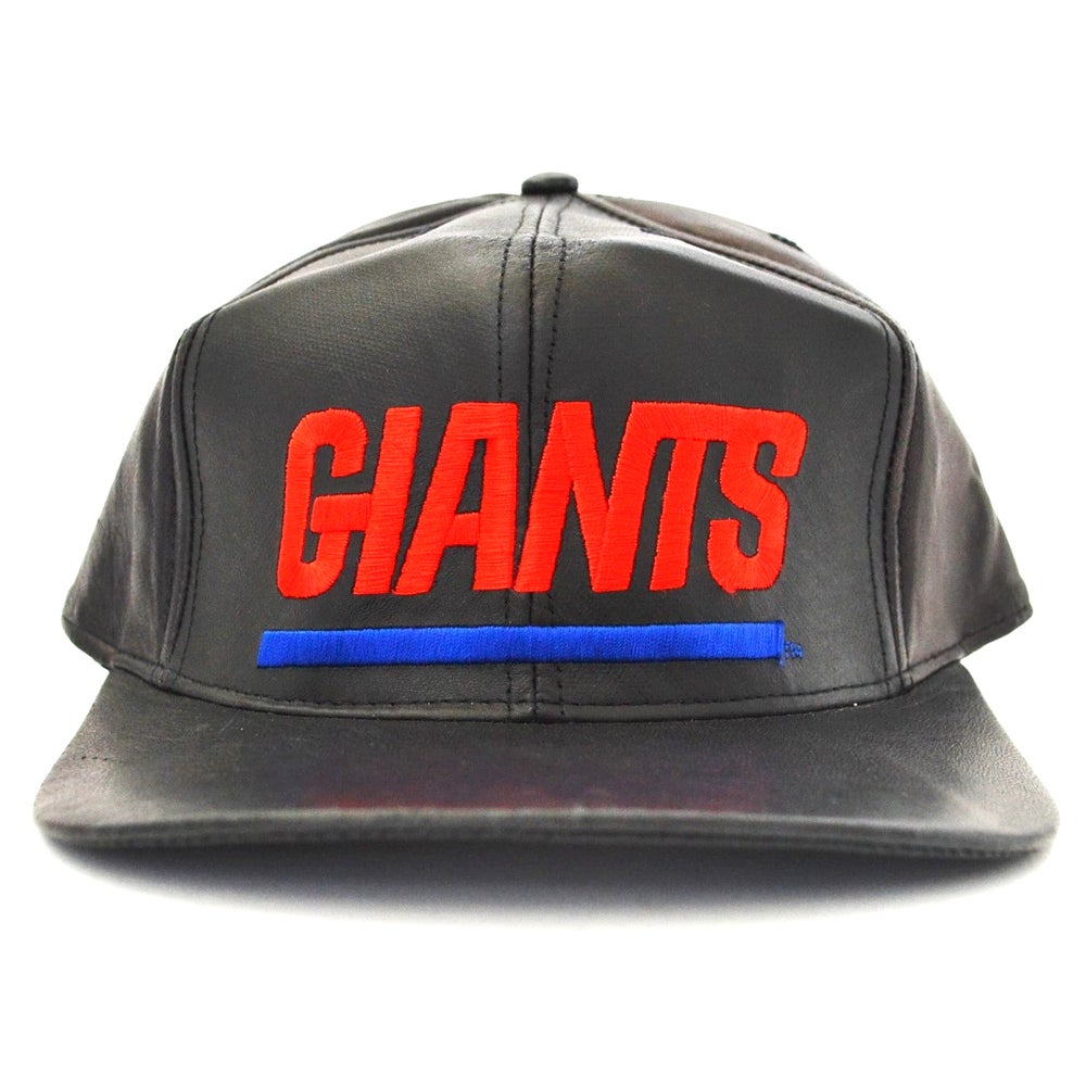 Image of Vintage 1990's New York Giants Jeff Hamilton Leather Strapback Hat