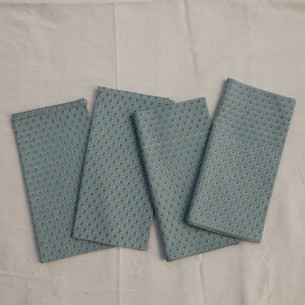 Image of Celeste Seafoam Block Printed Napkins Set/4