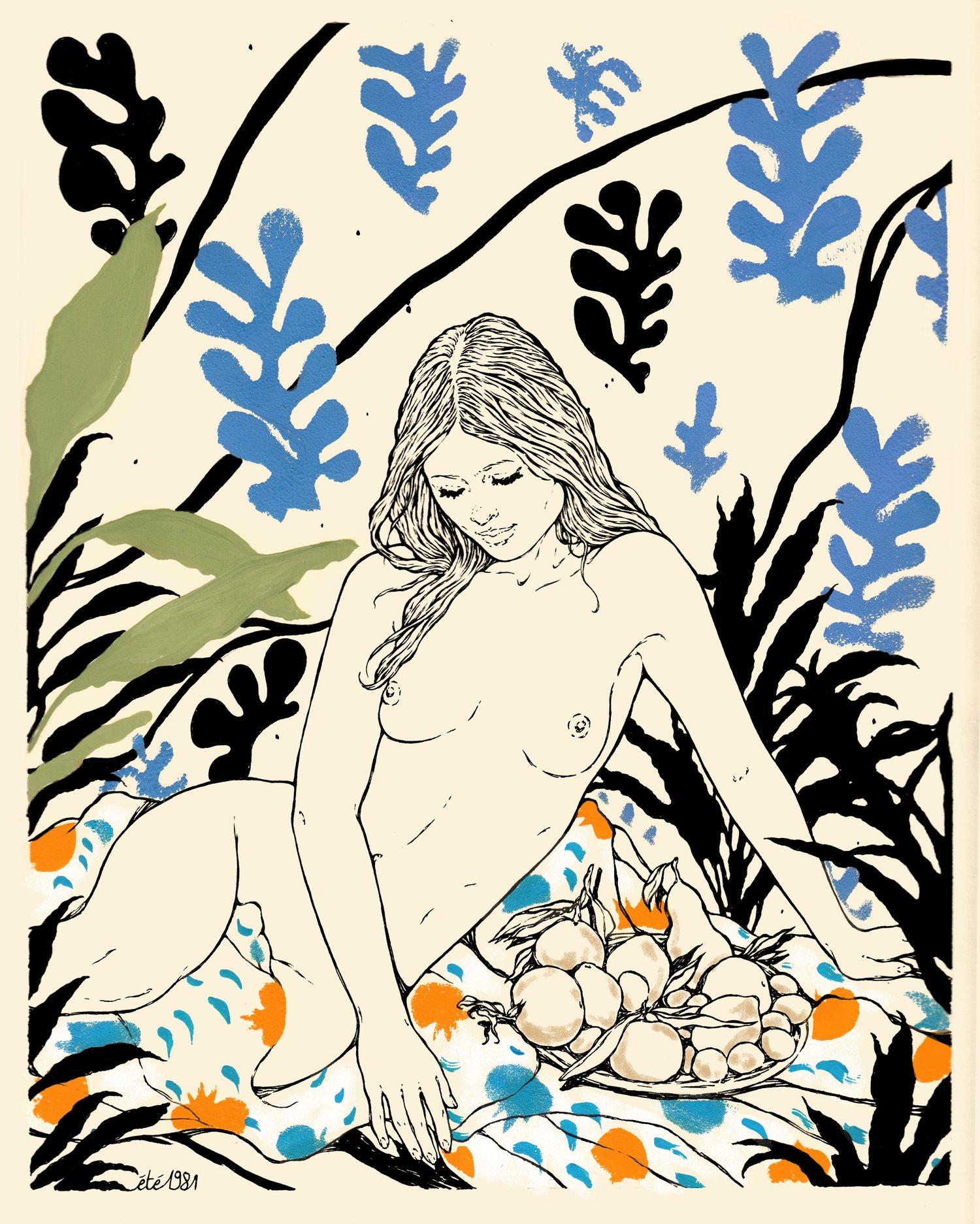 "Image of "" L' ATELIER "" / Original ink & gouche drawing , 24x30 cm"
