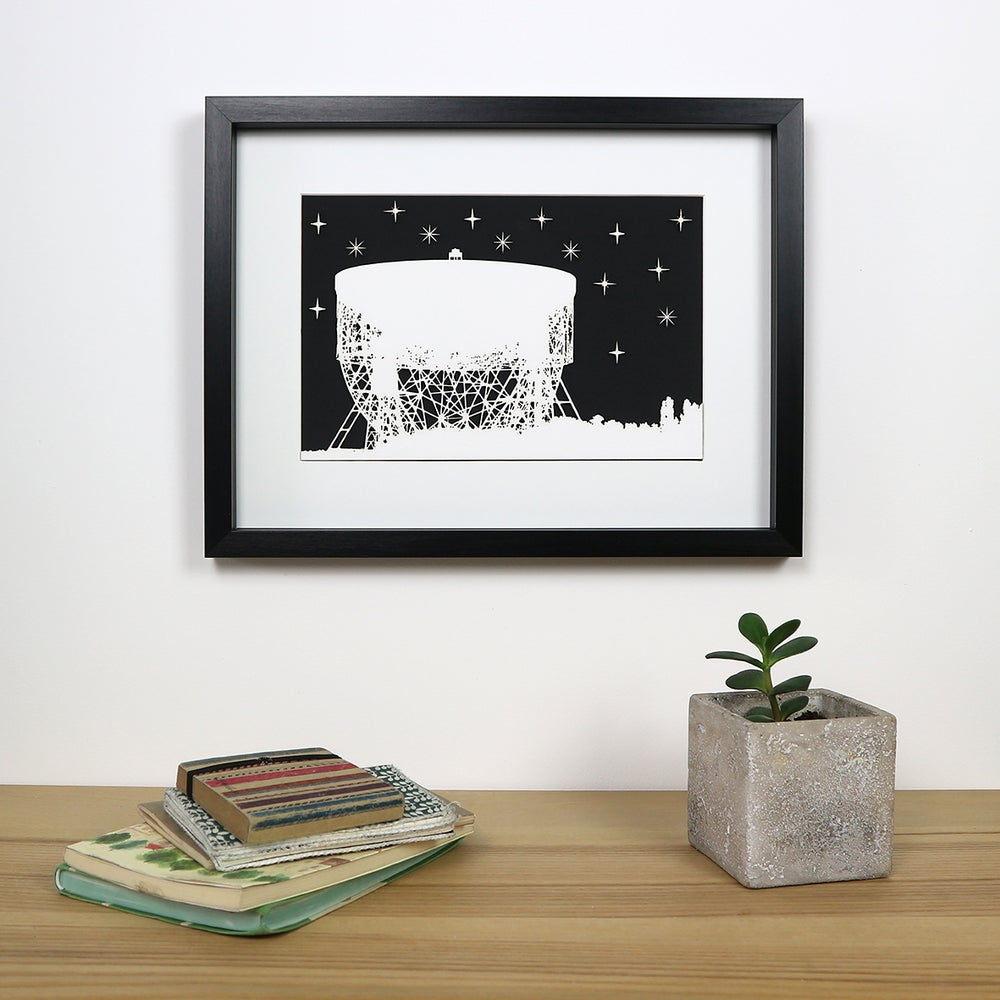 Image of Jodrell Bank Looking at the Stars - Framed woodcut picture