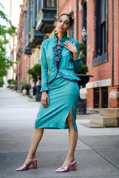 Image of Vintage Victor Costa Teal Ruffle Trim/Purple Polka Dots Skirt Set