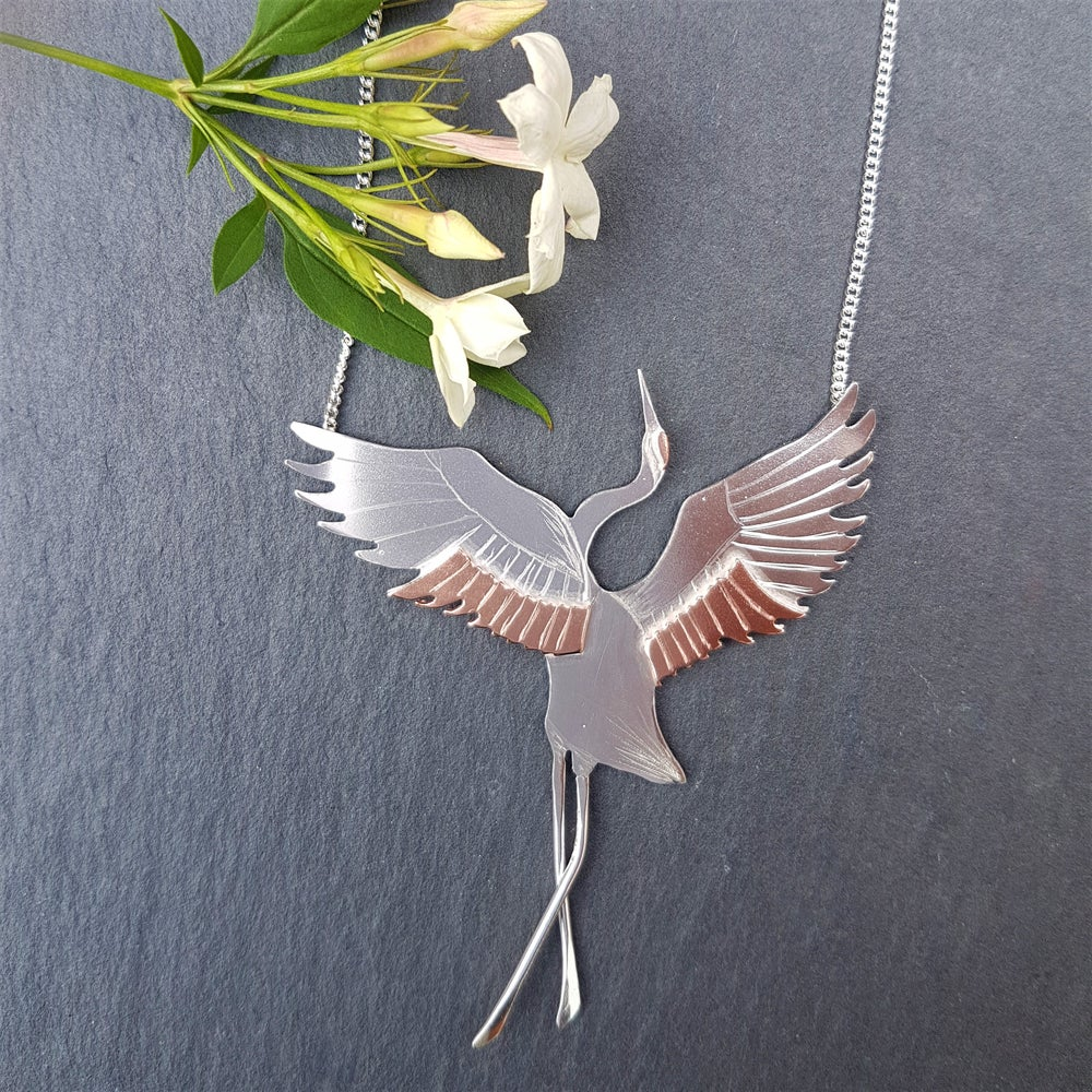 Image of Red Crowned Crane Necklace