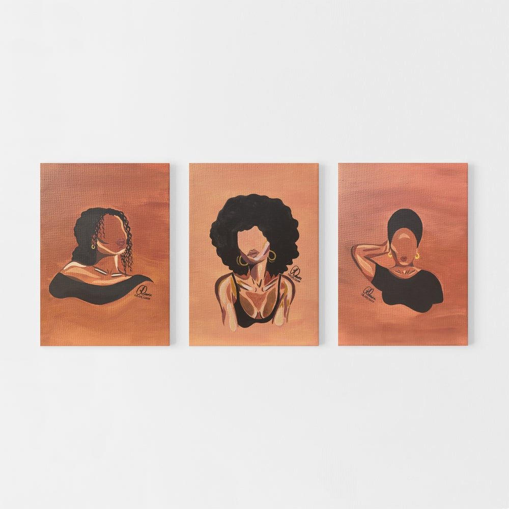 "Image of Black Girl Series | Set of 3 9x12"" Acrylic Paintings on Canvas"