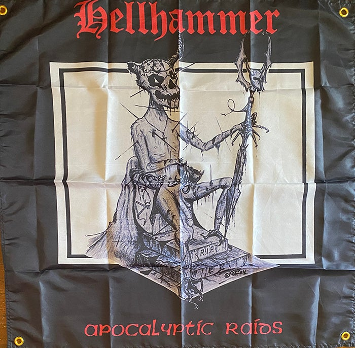 """Image of Hellhammer """" Apocalyptic Raids  """" Flag / Tapestry / Banner"""