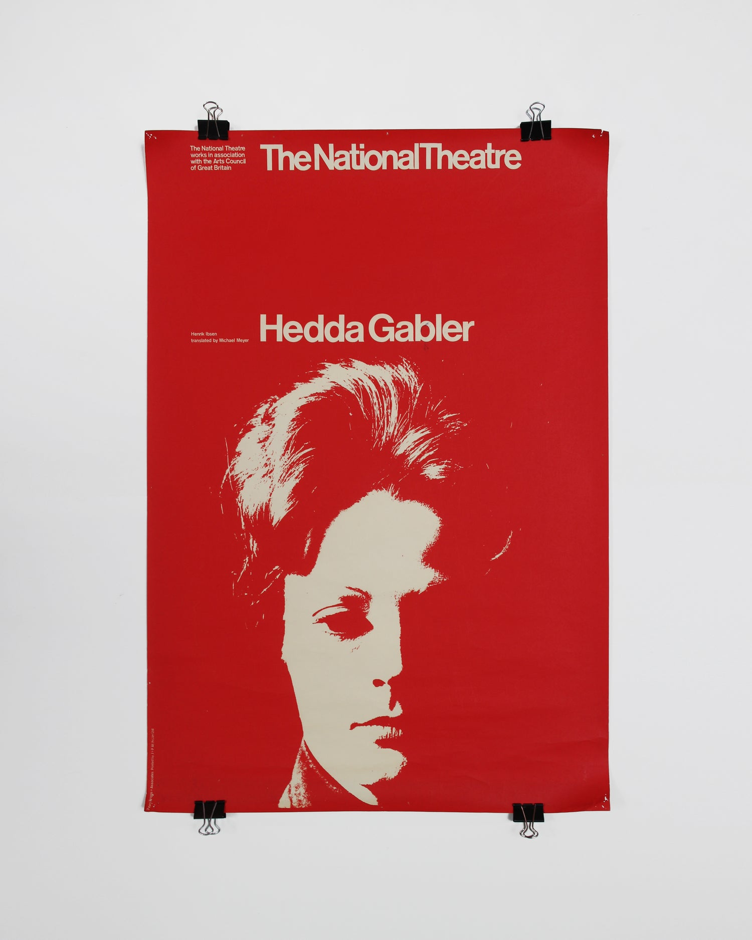 Original Vintage Poster by Ken Briggs - The National Theatre - Henrick Ibsen's Hedda Gabler ca. 1970