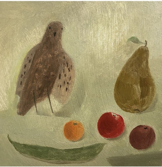 Image of Young sparrow and produce