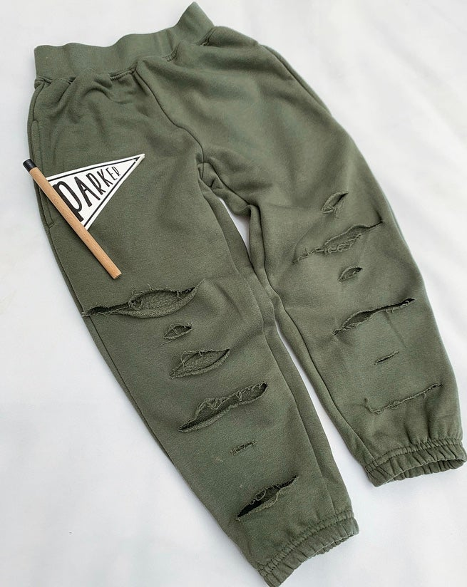 Image of Khaki Distressed Joggers