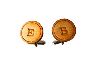 Image of Wooden Initial Cufflinks