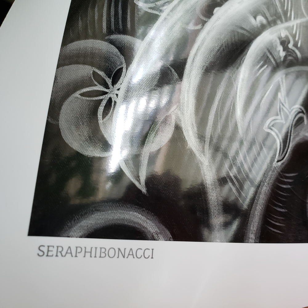 Image of 'Seraphibonacci' Silver - extremely limited edition metallic black & white poster