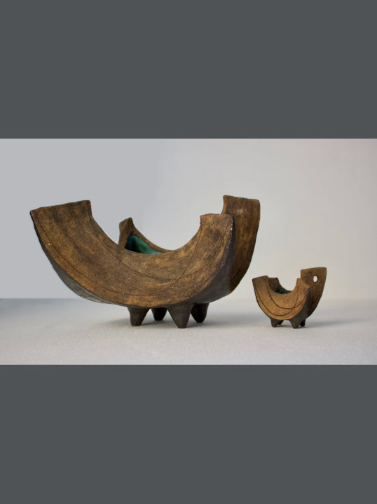 Image of Set of Two Studio Ceramic Sculptures or Vessels by Clive Brooker