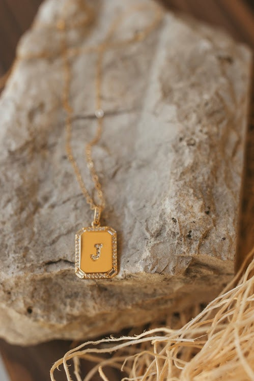 Image of Initial Tag Necklace