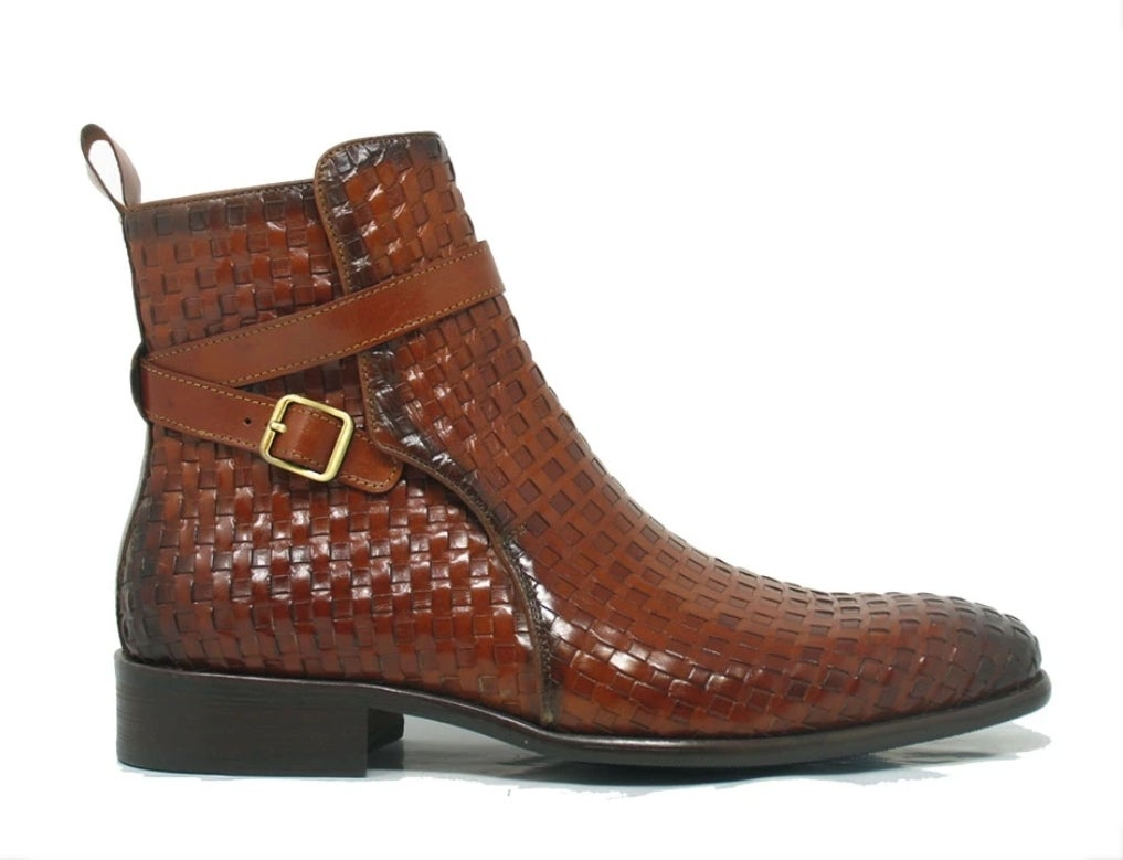 Image of CARRUCCI BASKET WEAVE BUCKLE BOOTS