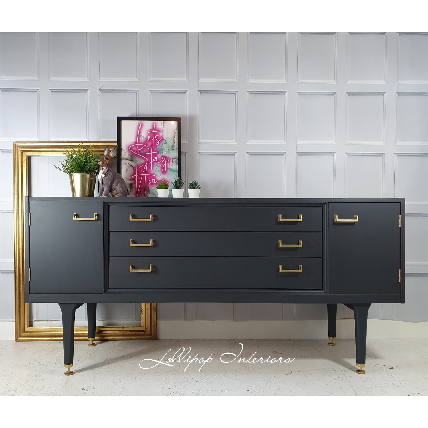 Image of Gplan sideboard in grey and gold