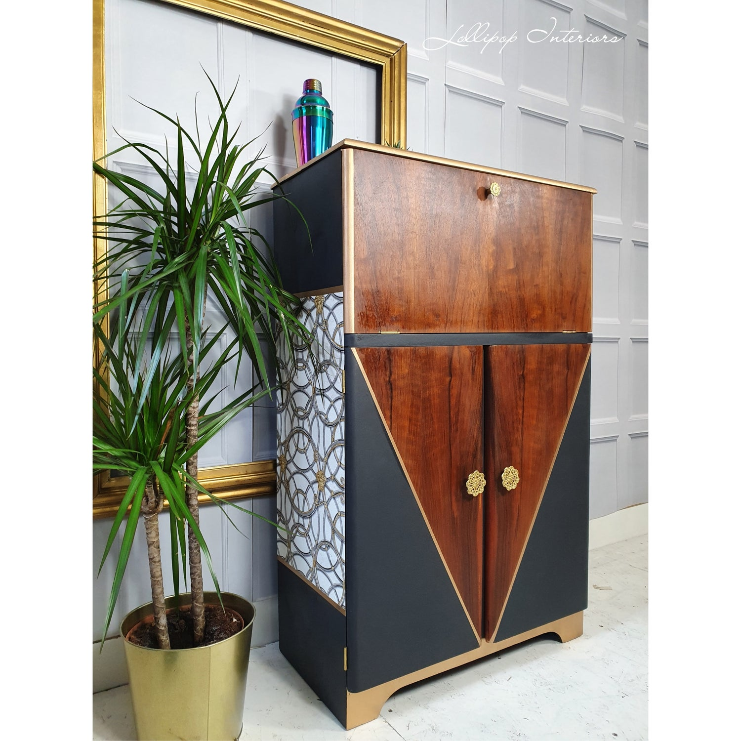 Image of This years raffle prize! Grey cocktail cabinet adorned with gold and a beautiful Versace wall paper