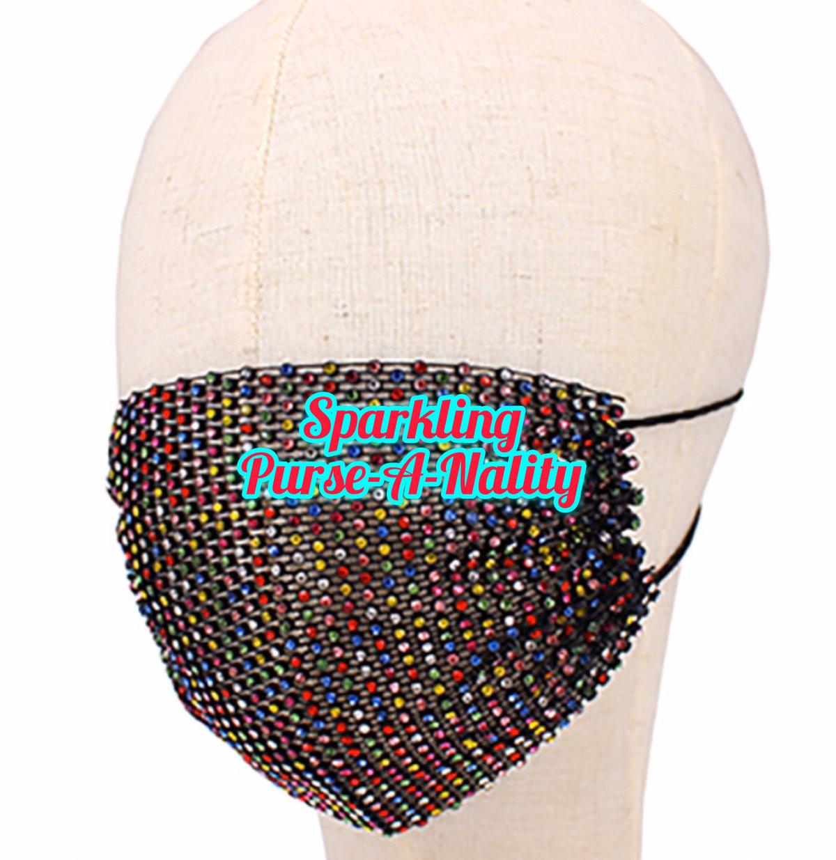 """Image of """"Sparkling"""" Rhinestone Mesh Mask"""