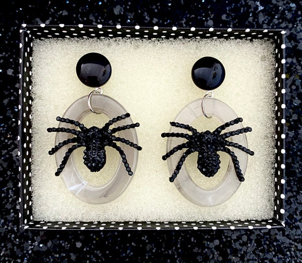 Image of Itsy Witchy Spider Earrings - Shadow Gray