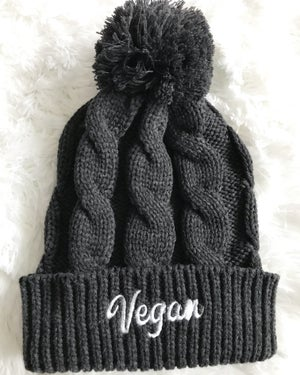 Image of Chunky cable knit vegan beanie