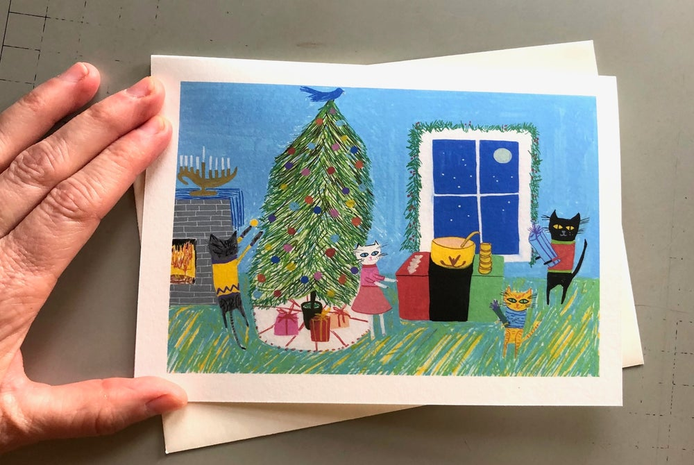 Image of Kitty throws a party. Holiday note cards.