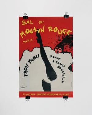 Original Bal Du Moulin Rouge, Paris (Frou Frou)  Lithograph Poster by René Gruau ca. 1963