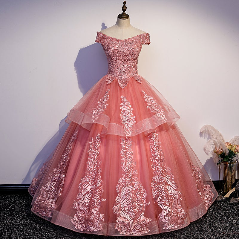 Beautiful Pink Tulle Quinceanera Dress, Ball Gown Sweet 16 Formal Dress