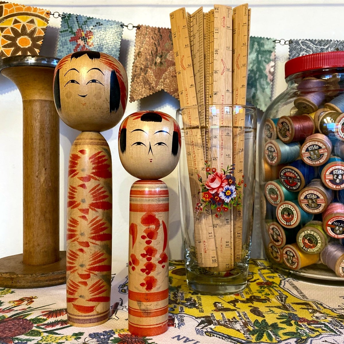 Image of Vintage Kokeshi Dolls